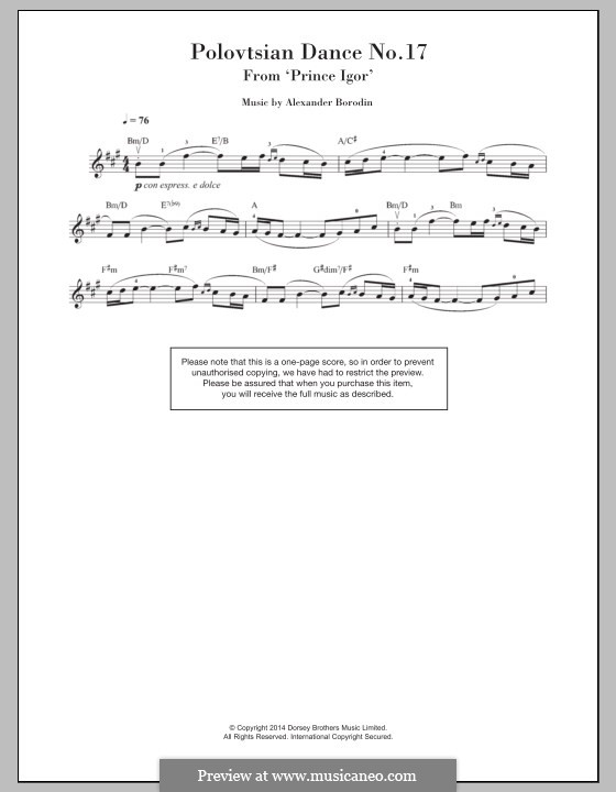 Die Polowetzer Tänze: Thema, für Violine by Alexander Porfiryevich Borodin