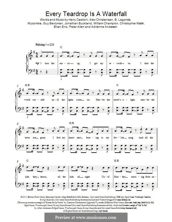 Every Teardrop is a Waterfall (Coldplay): Für Klavier by Adrienne Anderson, Brian Eno, Chris Martin, Guy Berryman, Jonny Buckland, Peter Allen, Will Champion