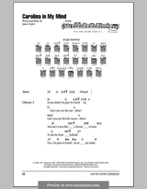 Carolina in My Mind: Texte und Akkorde by James Taylor
