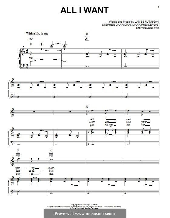 All I Want (Kodaline): Für Stimme und Klavier (oder Gitarre) by Brandon Flowers