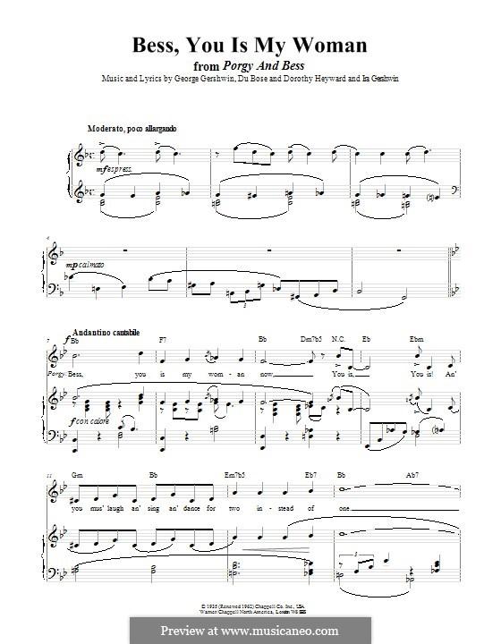 Bess, You Is My Woman Now: Für Stimme und Klavier (oder Gitarre) by George Gershwin