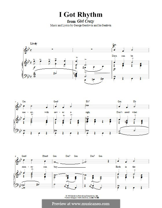 I Got Rhythm: Für Stimme und Klavier (oder Gitarre) by George Gershwin