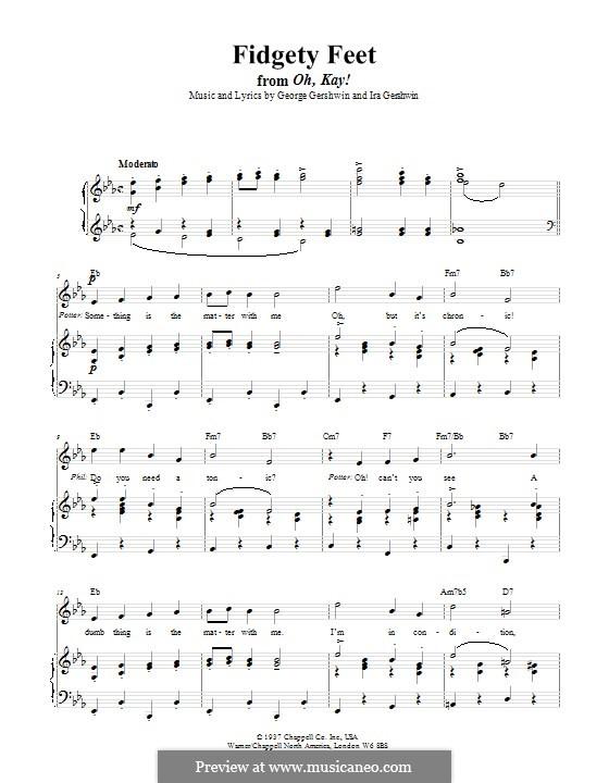Fidgety Feet: Für Stimme und Klavier (oder Gitarre) by George Gershwin