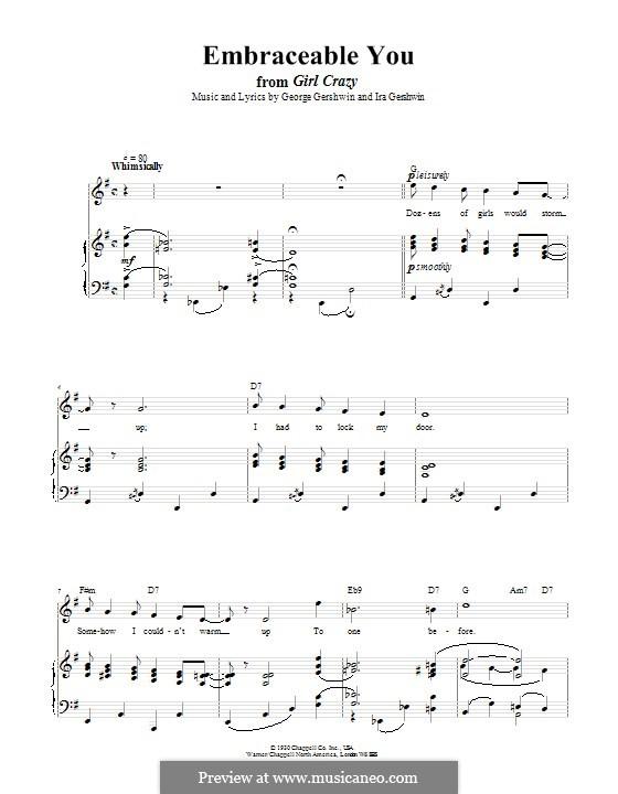 Embraceable You: Für Stimme und Klavier (oder Gitarre) by George Gershwin