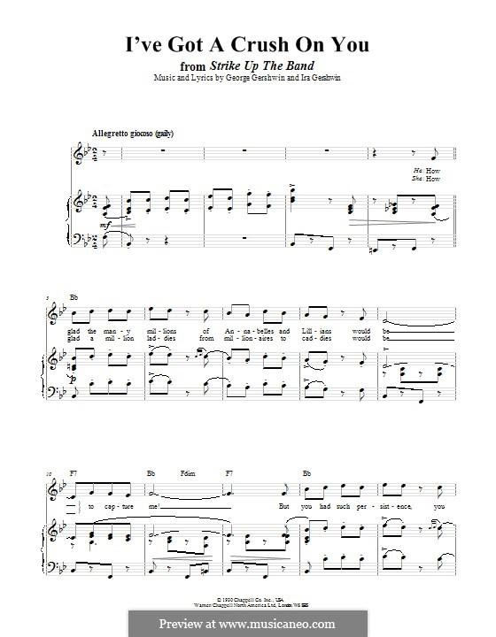 I've Got a Crush on You: Für Stimme und Klavier (oder Gitarre) by George Gershwin