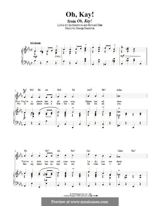 Oh, Kay: Für Stimme und Klavier (oder Gitarre) by George Gershwin