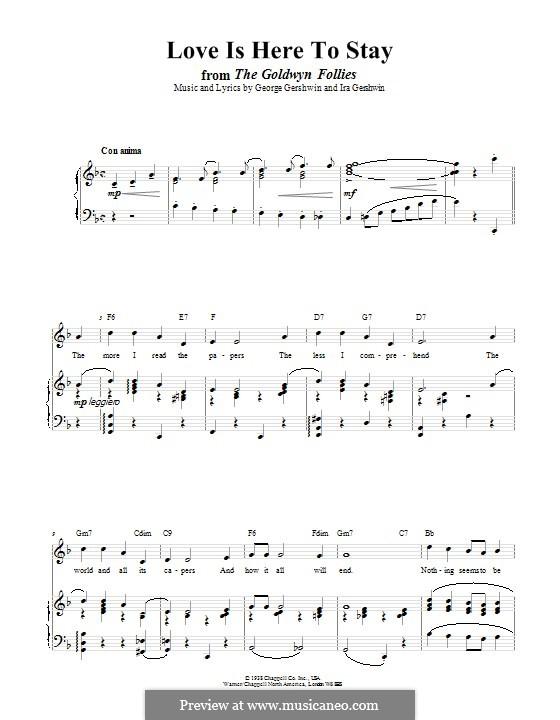 Love is Here to Stay: Für Stimme und Klavier (oder Gitarre) by George Gershwin