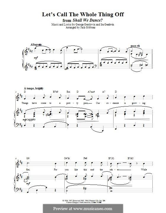 Let's Call the Whole Thing Off: Für Stimme und Klavier (oder Gitarre) by George Gershwin