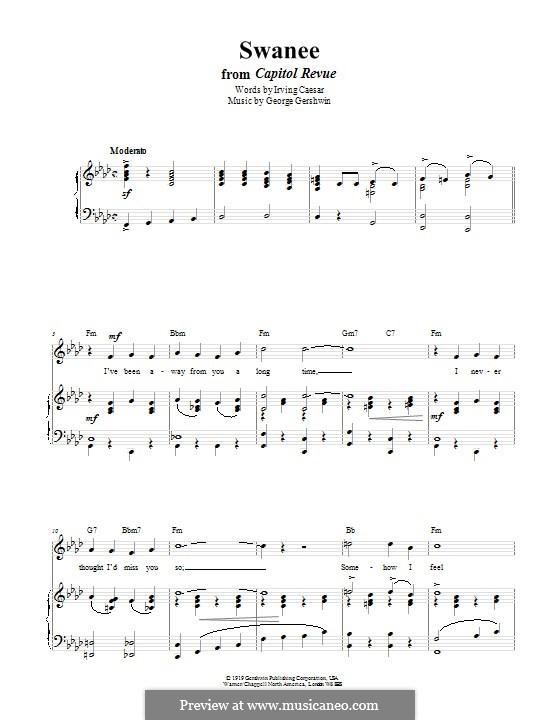 Swanee: Für Stimme und Klavier (oder Gitarre) by George Gershwin
