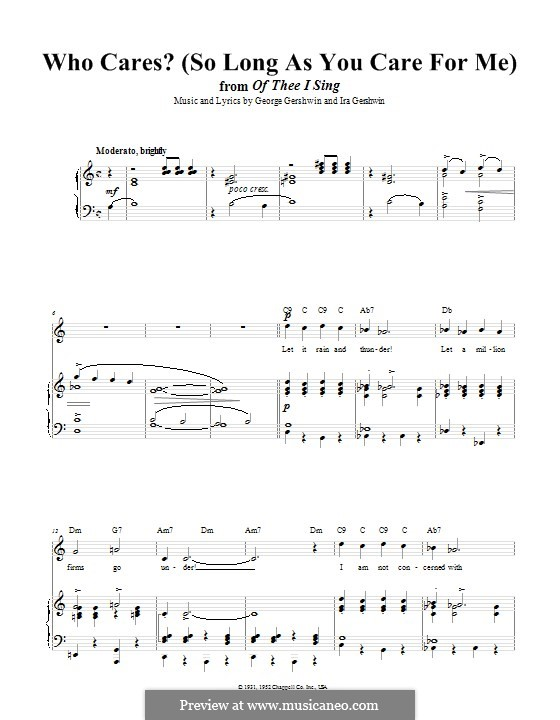 Who Cares? (So Long as You Care for Me): Für Stimme und Klavier (oder Gitarre) by George Gershwin