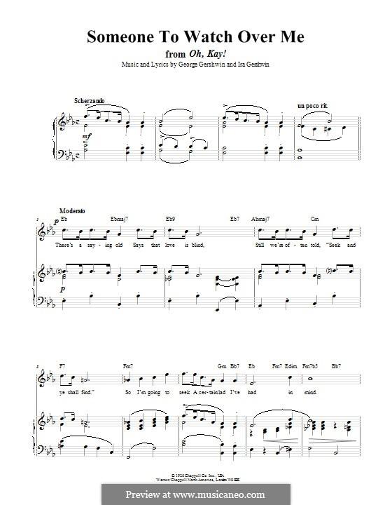 Someone To Watch Over Me (from Oh, Kay!): Für Stimme und Klavier (oder Gitarre) by George Gershwin