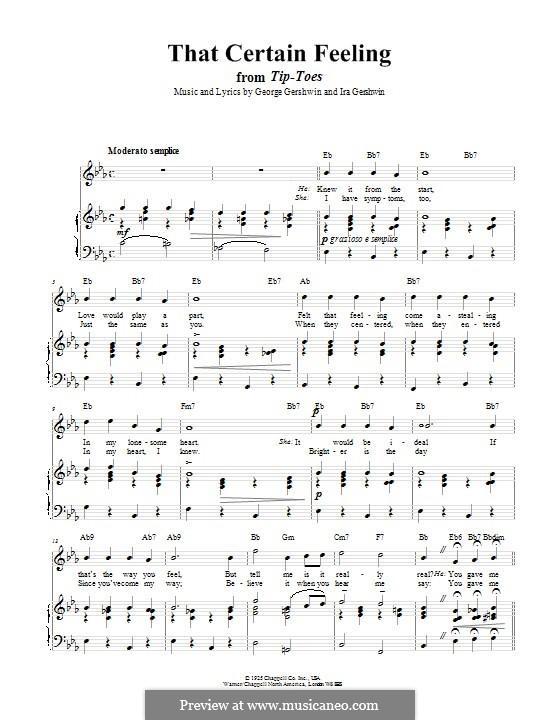 That Certain Feeling: Für Stimme und Klavier (oder Gitarre) by George Gershwin