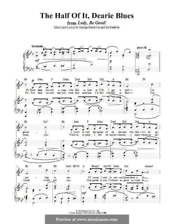 The Half of It, Dearie Blues: Für Stimme und Klavier (oder Gitarre) by George Gershwin
