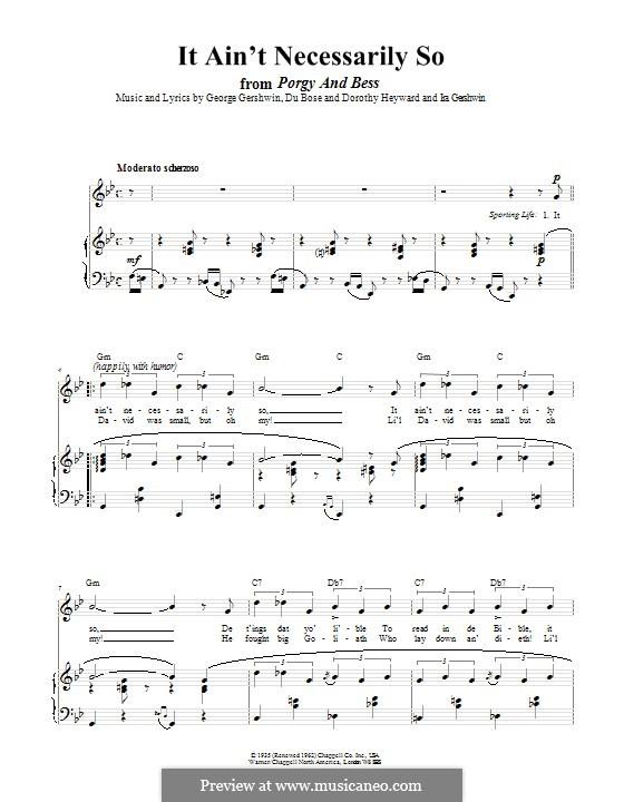It ain't Necessarily So: Für Stimme und Klavier (oder Gitarre) by George Gershwin