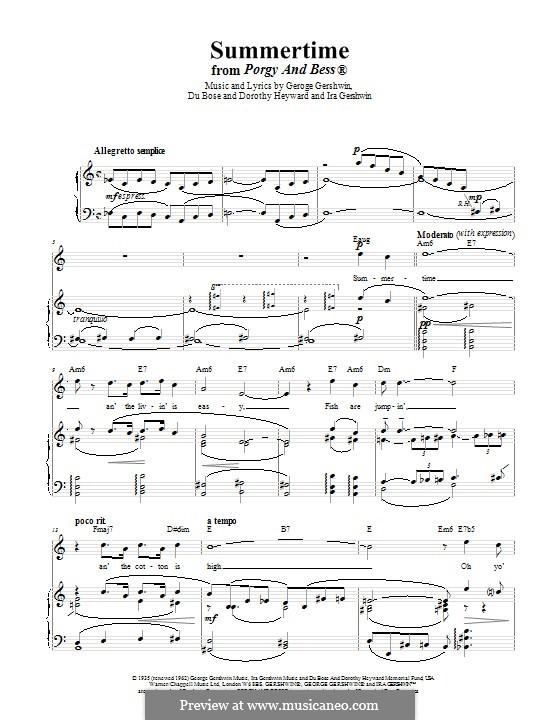 Summertime: Für Stimme und Klavier (oder Gitarre) by George Gershwin