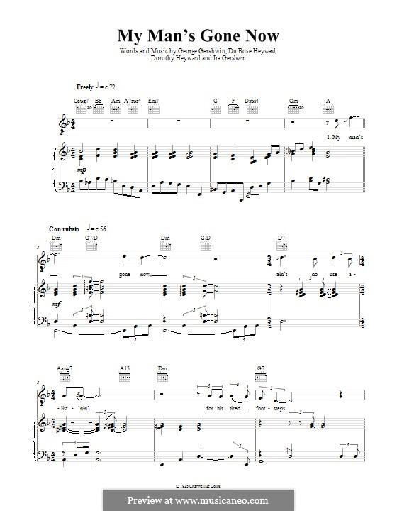 My Man's Gone Now: Für Stimme und Klavier (oder Gitarre) by George Gershwin