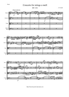 Concerto for Strings in E Minor, RV 134: Score and parts by Antonio Vivaldi