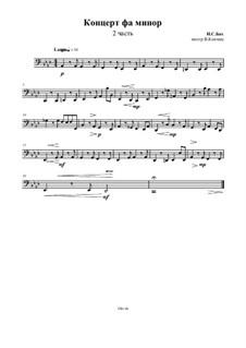 Teil II: For string quartet – cello part by Johann Sebastian Bach
