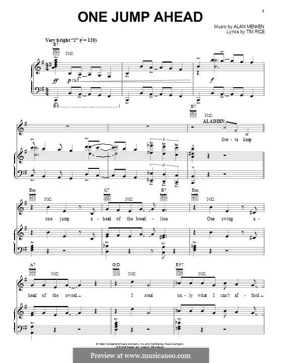 One Jump Ahead (from Disney's Aladdin): Für Stimme und Klavier (oder Gitarre) by Alan Menken