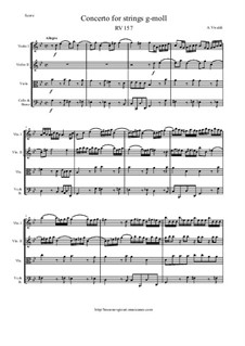 Concerto for Strings in G Minor, RV 157: Score and parts by Antonio Vivaldi