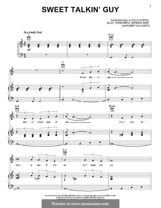 Sweet Talkin' Guy (The Chiffons): Für Stimme und Klavier (oder Gitarre) by Barbara Baer, Doug Morris, Elliot Greenberg, Robert Schwartz