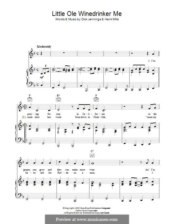 Little Old Wine Drinker Me: Für Stimme und Klavier (oder Gitarre) by Dick Jennings, Hank Mills