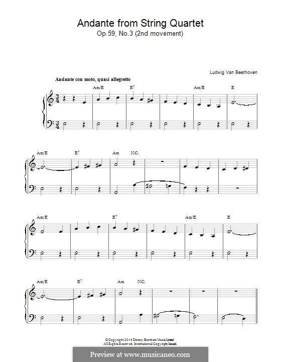 Streichquartett Nr.9 in C-Dur, Op.59 No.3: Andante, für Klavier by Ludwig van Beethoven