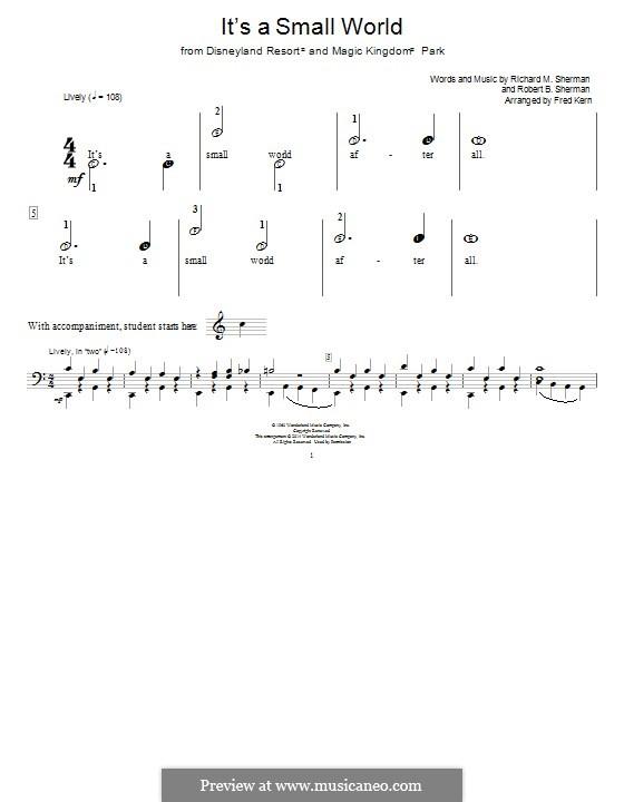 It's a Small World (from Disneyland Park and Magic Kingdom Park): Für Klavier by Richard M. Sherman, Robert B. Sherman