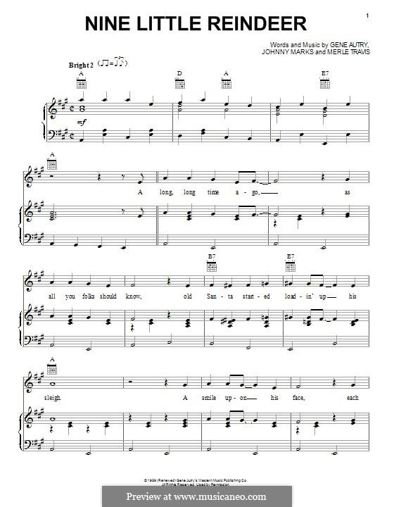 Nine Little Reindeer: Für Stimme und Klavier (oder Gitarre) by Gene Autry, Johnny Marks, Merle Travis
