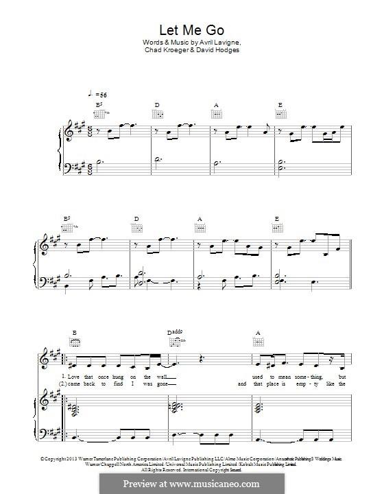 Let Me Go (feat. Chad Kroeger): Für Stimme und Klavier (oder Gitarre) by Avril Lavigne, Chad Kroeger, David Hodges