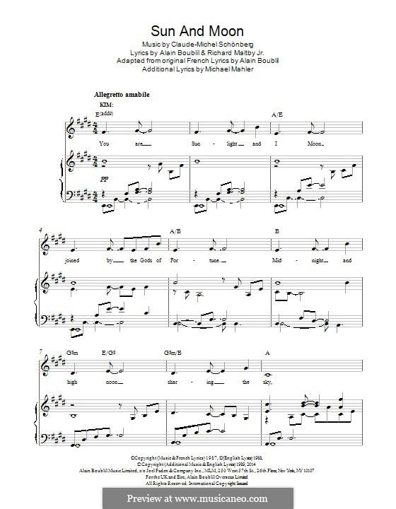 Sun and Moon: Für Stimme und Klavier by Claude-Michel Schönberg