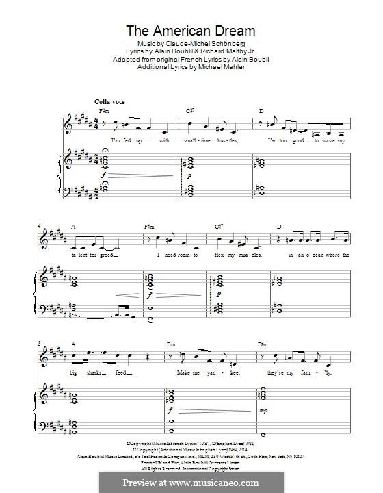 The American Dream: Für Stimme und Klavier by Claude-Michel Schönberg