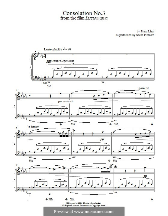 Consolations, S.172: Nr.3 in Des-Dur by Franz Liszt