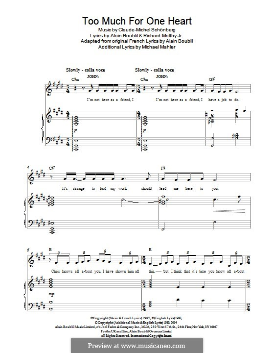 Too Much for One Heart: Für Stimme und Klavier by Claude-Michel Schönberg