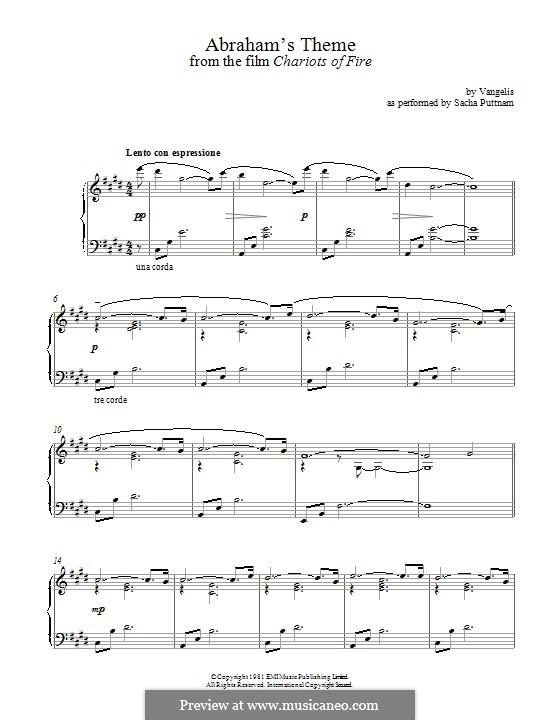 Abraham's Theme (from Chariots of Fire): Für Klavier by Vangelis