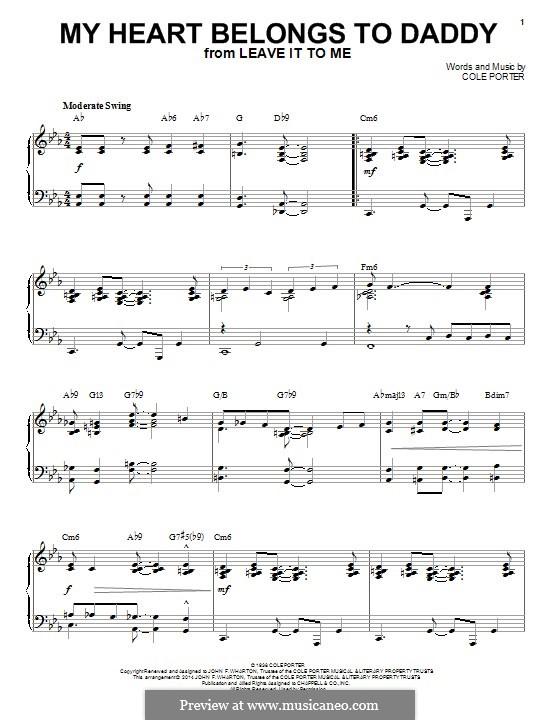 My Heart Belongs to Daddy: Für Klavier by Cole Porter