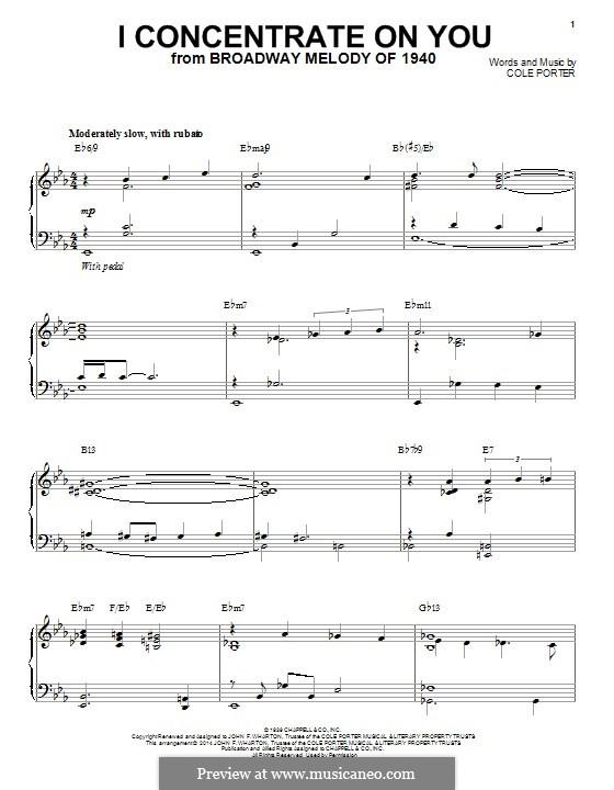I Concentrate on You: Für Klavier by Cole Porter