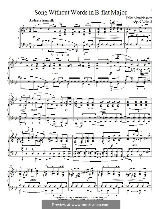 Lieder ohne Worte, Op.67: Nr.3 An die Entfernte by Felix Mendelssohn-Bartholdy