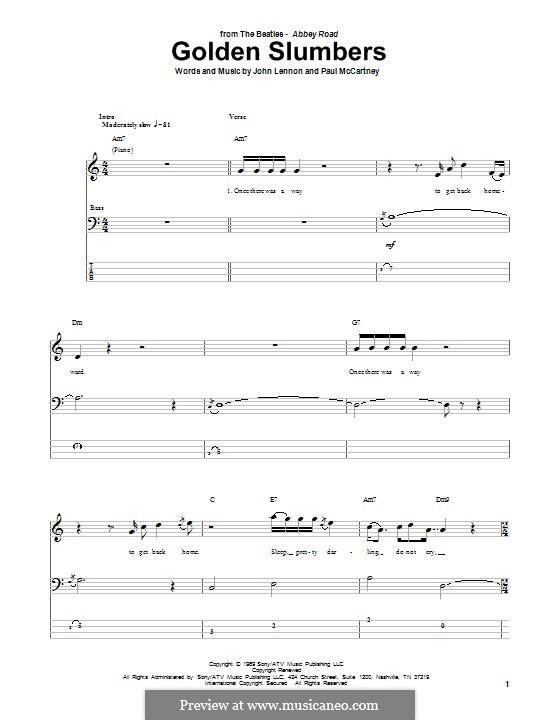 Golden Slumbers (The Beatles): Für Bassgitarre mit Tabulatur by John Lennon, Paul McCartney