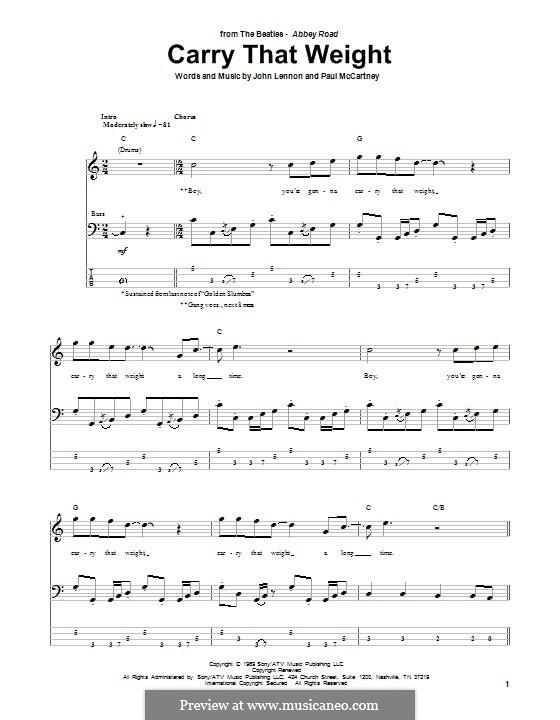 Carry That Weight (The Beatles): Für Bassgitarre mit Tabulatur by John Lennon, Paul McCartney