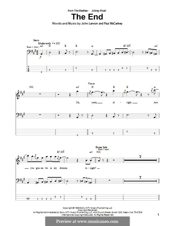 The End (The Beatles): Für Bassgitarre mit Tabulatur by John Lennon, Paul McCartney