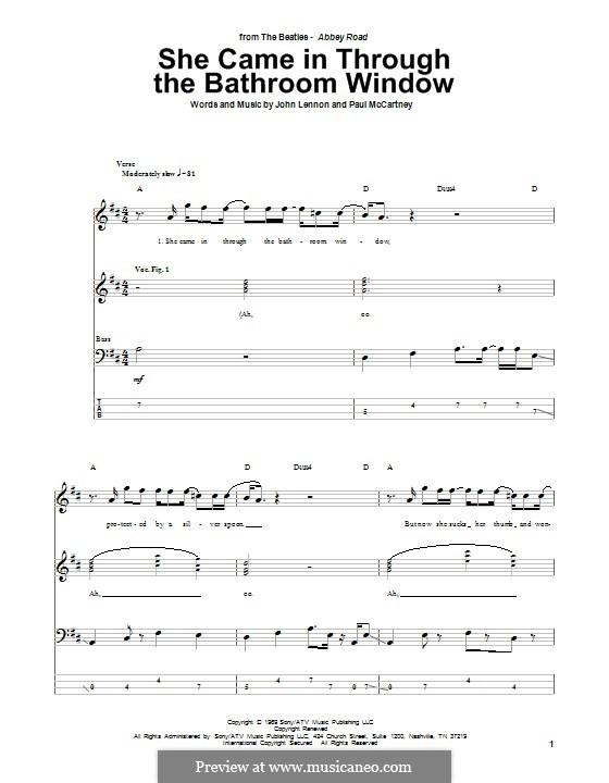 She Came in Through the Bathroom Window (The Beatles): Für Bassgitarre mit Tabulatur by John Lennon, Paul McCartney