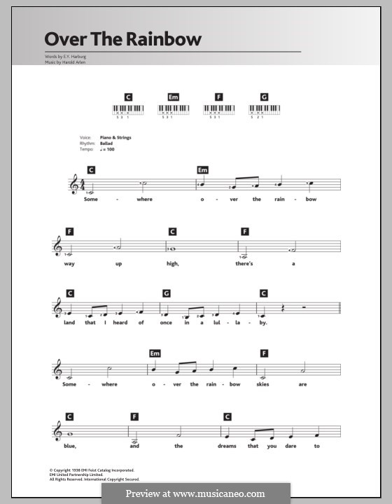 Over the Rainbow (from The Wizard of Oz): Für Keyboard by Harold Arlen