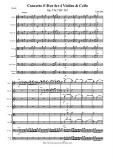 Konzert für vier Violinen, Cello und Streicher Nr.7 in F-Dur, RV 567: Partitur und Stimmen by Antonio Vivaldi