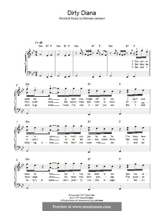 Dirty Diana: Für Klavier by Michael Jackson