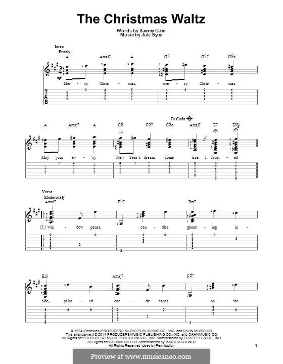 The Christmas Waltz: Für Gitarre mit Tab by Jule Styne