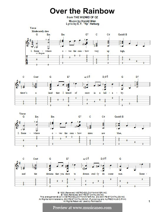Over the Rainbow (from The Wizard of Oz): Für Gitarre mit Tab by Harold Arlen