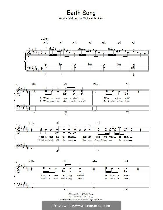 Earth Song: Für Klavier by Michael Jackson