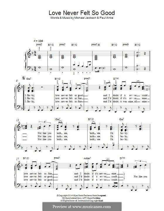 Love Never Felt So Good Fur Klavier By Michael Jackson Paul Anka