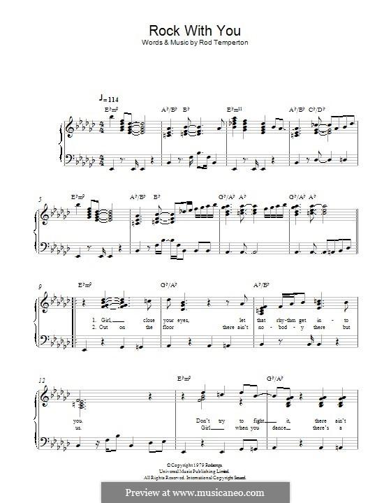 Rock with You (Michael Jackson): Für Klavier by Rod Temperton
